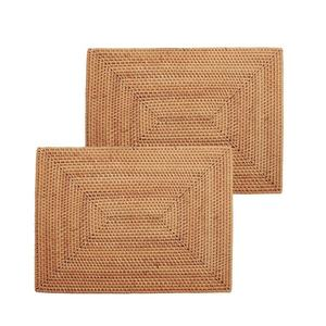 Handbraided Wholesale Natural Rectangle Rattan Bamboo Woven Tableware Placemats For Dining Table Decoration