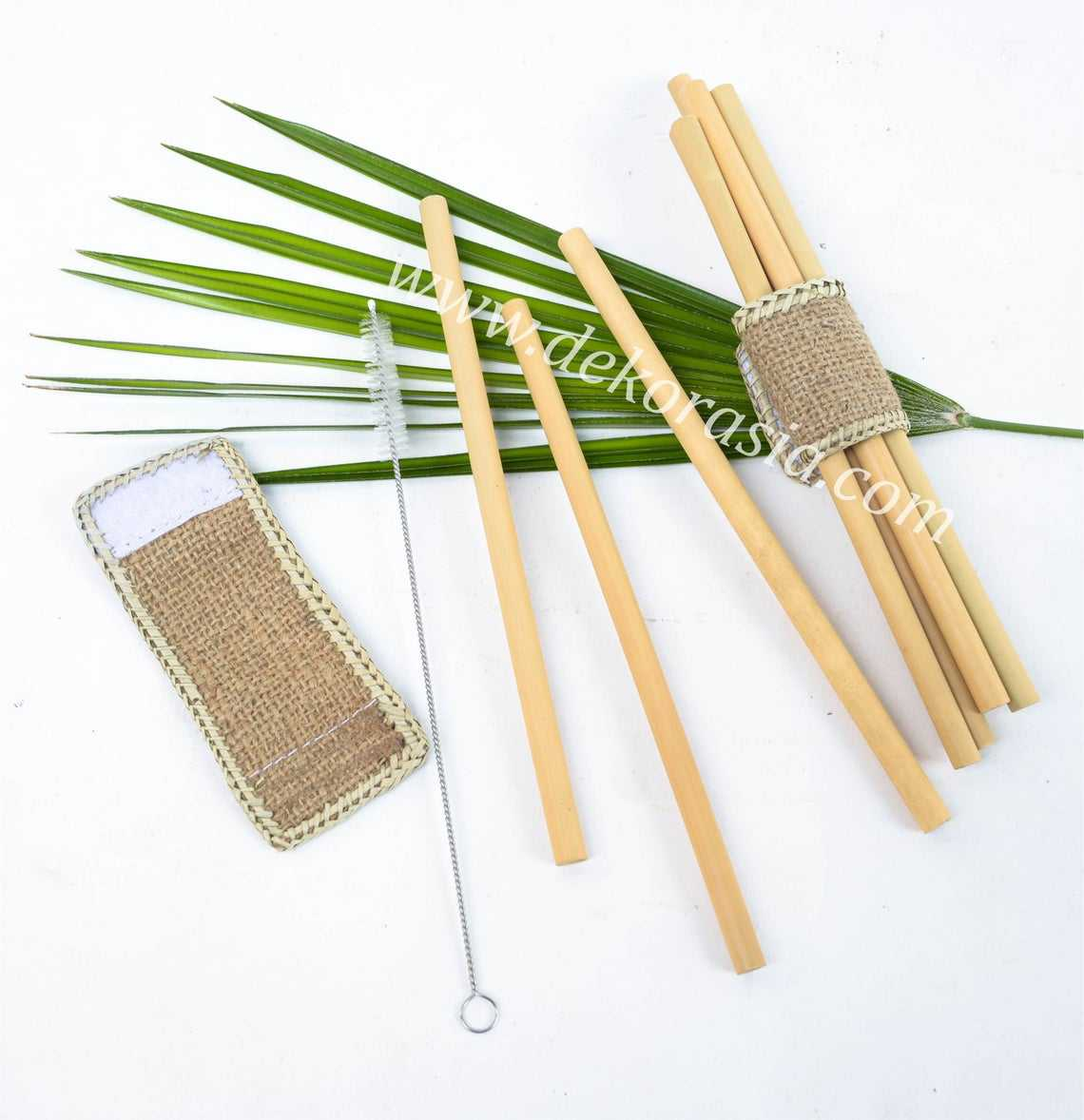 Bamboo Straw Set with Bamboo Napkin Ring, ORGANIC BAMBOO DRINKING STRAWS, REUSABLE, 100% Natural