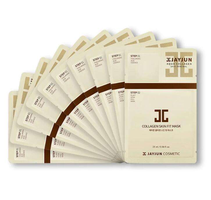 Free Shipping Korea JAYJUN Official Collagen Skin Fit Face Sheet Masks 25ml / 0.84 fl.oz. Pack of 10