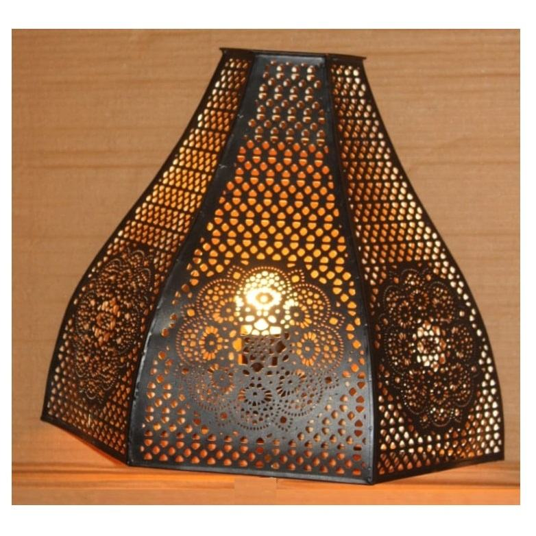 Wall Light Triangle Design Etching E-14 Holder Black & Gold Finish Best For Interior Decoration