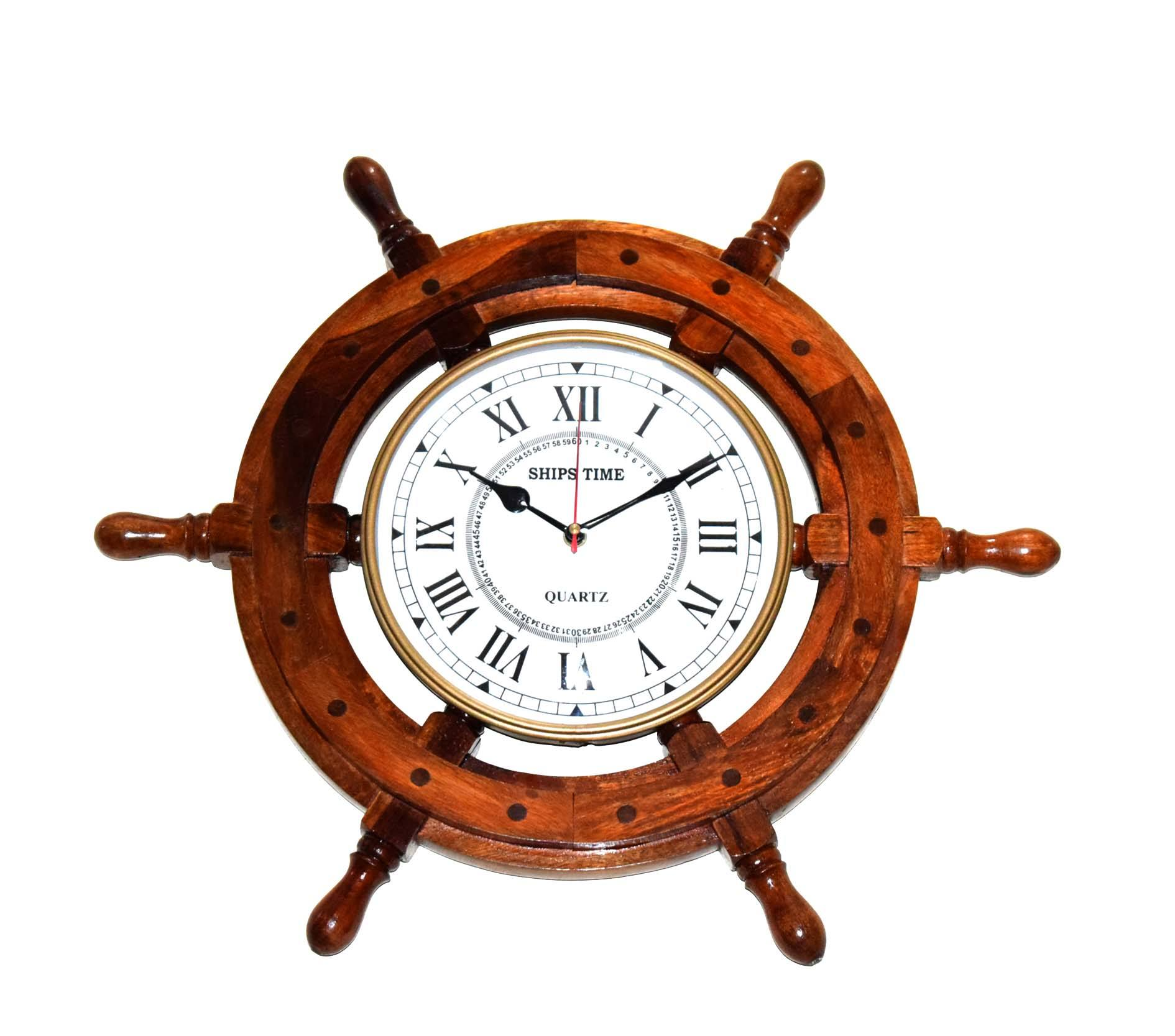 "18"" Wooden Wall Ship Wheel with Ship's Time Captain's Clock Made Of High Quality Mango Wood Completely Finished product"