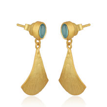 Mountain Collection Textured Gold on Silver Dangle Aqua Chalcedony Gemstone 925 Sterling Silver Jewelry Earrings