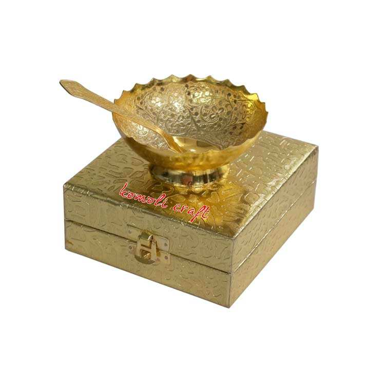 Elephant embossed gold plated bowl set Diwali return gifts indian wedding