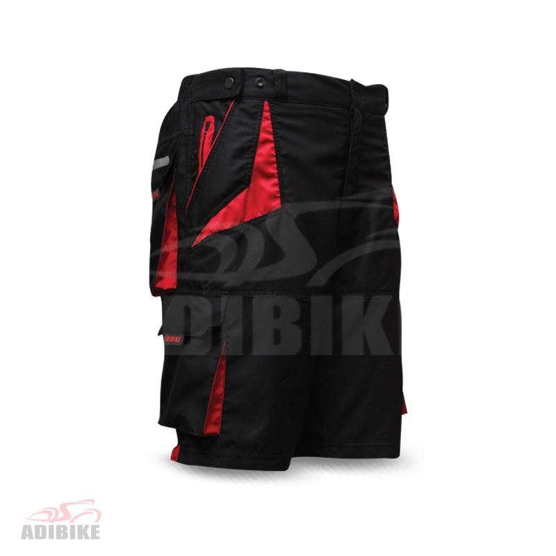 Length Style MTB Short Black And Red Side Panel Two Front And Back Pockets With Inner Shorts, Gal Pad