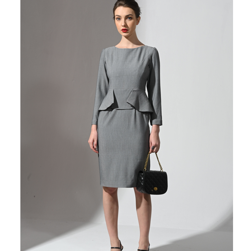Gray Business Suit Women's Fashion long sleeve Spring Season Dress Cloth