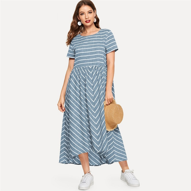 Trendy OEM Striped Chevron Print Smock Maxi Dress Women Casual Short Sleeve Summer Dress Round Neck Cotton Long Dress for women