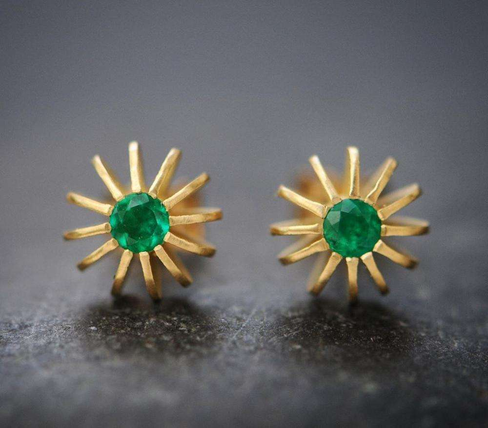 Natural Green Emerald Stud Earrings Minimalist Silver Gold Plated Unique Shape Sun Ray Everyday Daily Wear Gemstone Fine Jewelry