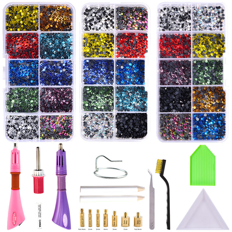 Top DIY Sets 2000ピース/箱SS10 DMC Hotfix Rhinestones Hot Fix Rhinestone Applicator Wand Sets