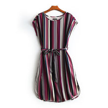 Hot Sale Clothes 100% Rayon Fabric Women Casual Dress With Sleeveless stripe Print garments stock lots  Apparel Stock