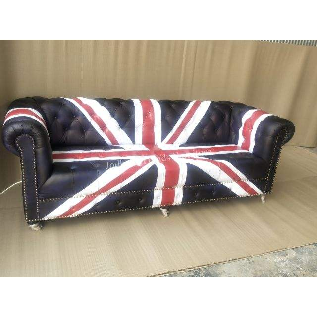 Hot Selling modern design leather chesterfield country flag design sofa for living room & hotel furniture