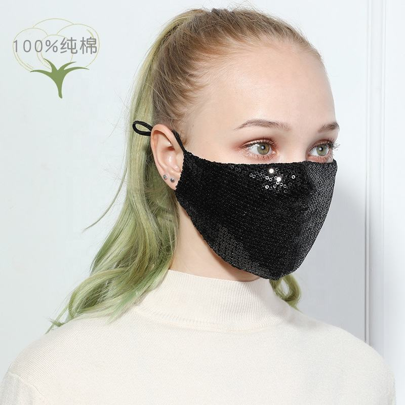 wholesale 2020 band dust washable Reusable Fabric bling fashion cloth cotton maskes Face cover Sequins Maskes for women