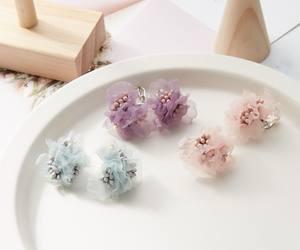 Fluffy Mesh Fabric Colorful Flower Earrings Girl Women Clip On Earrings