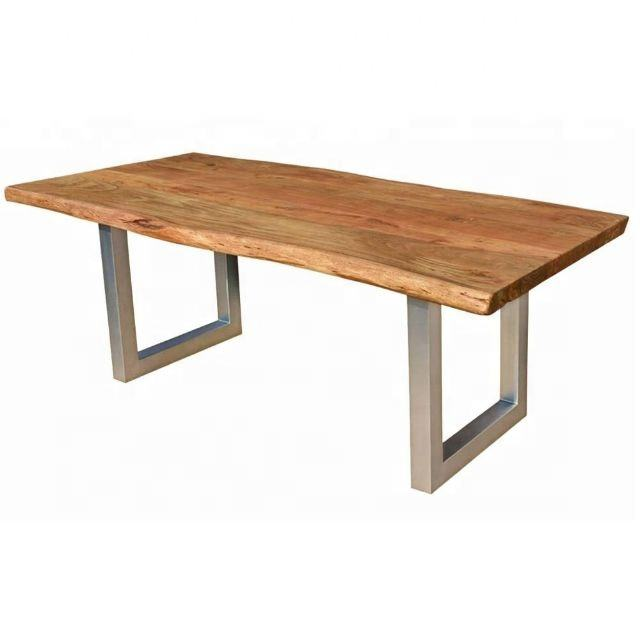 Industrial vintage Silver iron metal restaurant dining table & Acacia Live edge solid wood Dining Table