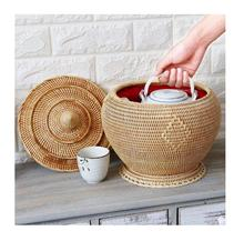 Vintage tea set/bamboo basket/Vintage Chinese Teapot And Cups In A Portable Wicker Basket Picnic Set Tea Set(84587176063 Sandy)