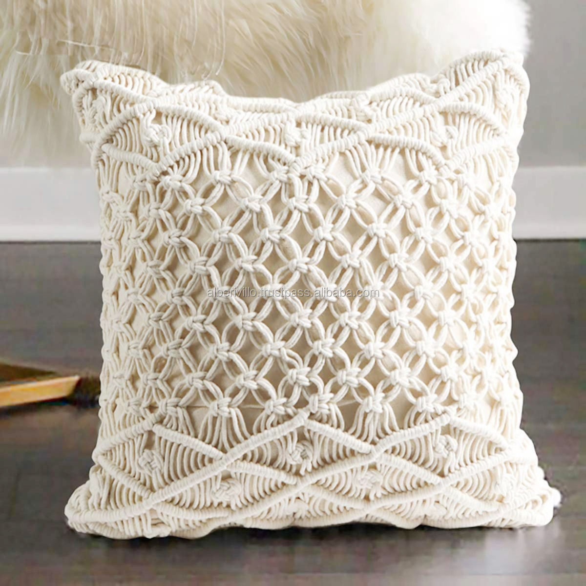 Cotton Rope Macrame Cushion Covers Handmade Macrame Home Couch Floor Cushion