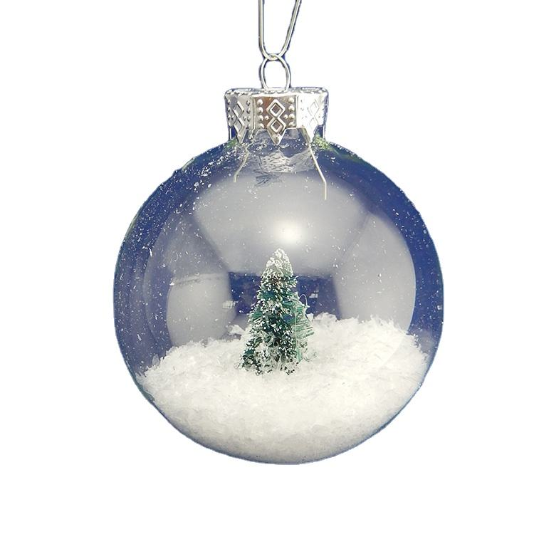 Home Decoration Glass Crafts christmas promotional gift Inside Clear Glass Christmas Ornament Balls Fill able for Young Living
