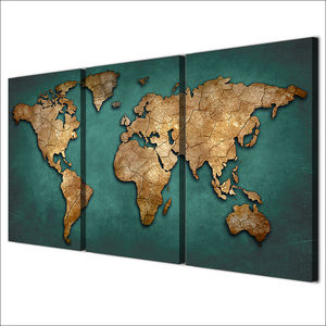 Canvas Prints Paintings Wall Art Framework Fashion Vintage Continent Pictures 3 Pieces World Map Posters Living Room Home Decor