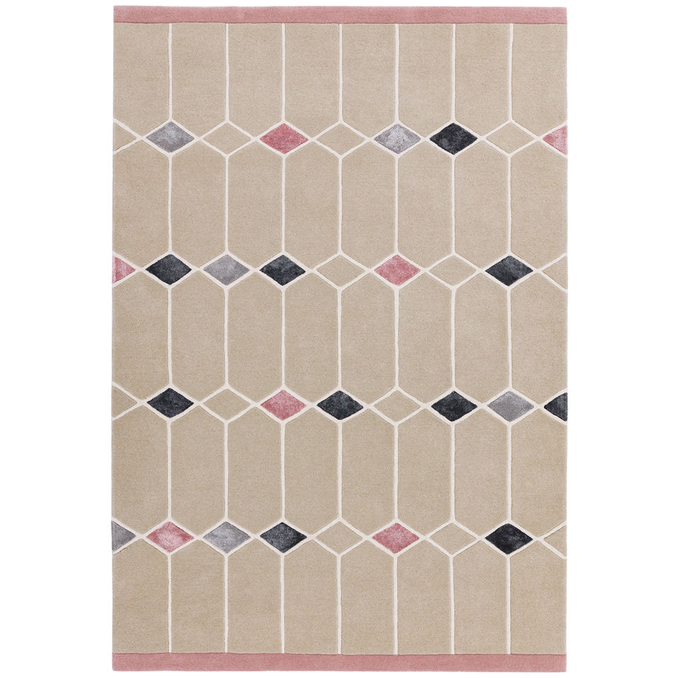 Matrix Jewel Pink Hand Tufted Handmade Indian Carpet Rugs