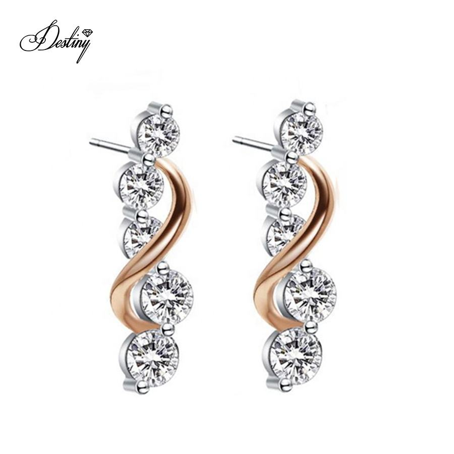 Destiny Jewellery 18k White Gold Plated Brilliant Crystal Vine Curve Drop Stud Earrings For Women