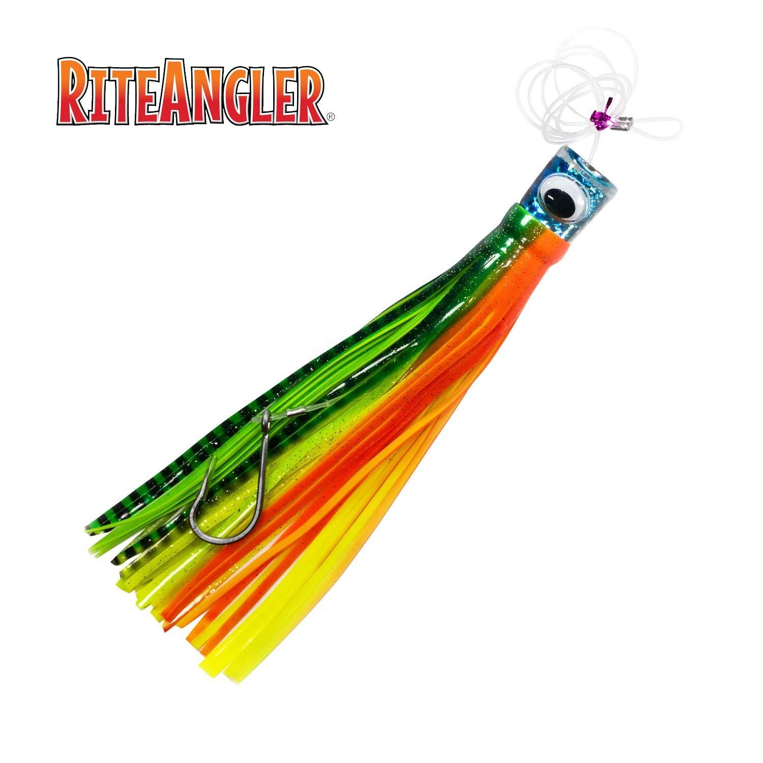 "12"" Single Saltwater Skirted Trolling Lure Big Game Rigged Sport Fishing Lure Offshore Fishing 5 Colors 1/pk"