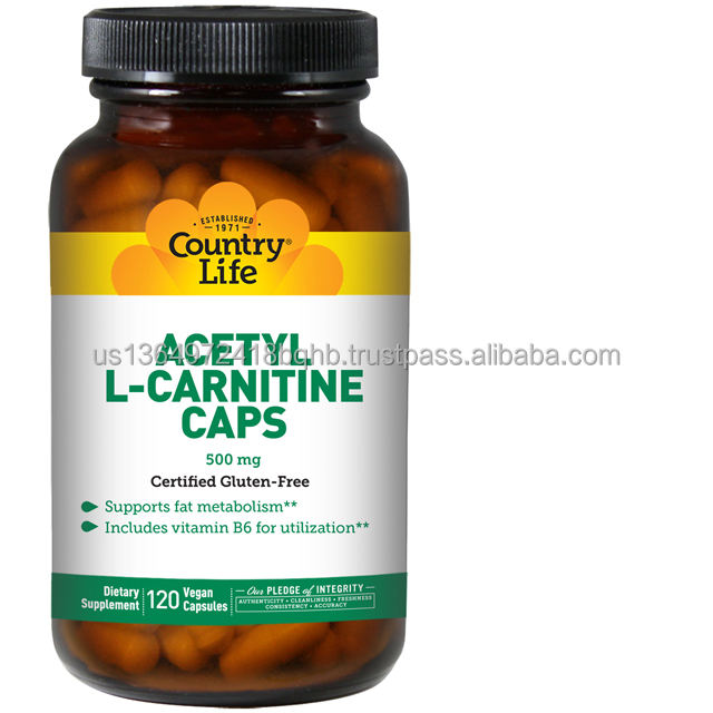 Country Life Acetyl L-Carnitine Capsule - 500 mg with Vitamin B6 - 120 Vegan Capsules - May Promote Fat Metabolism