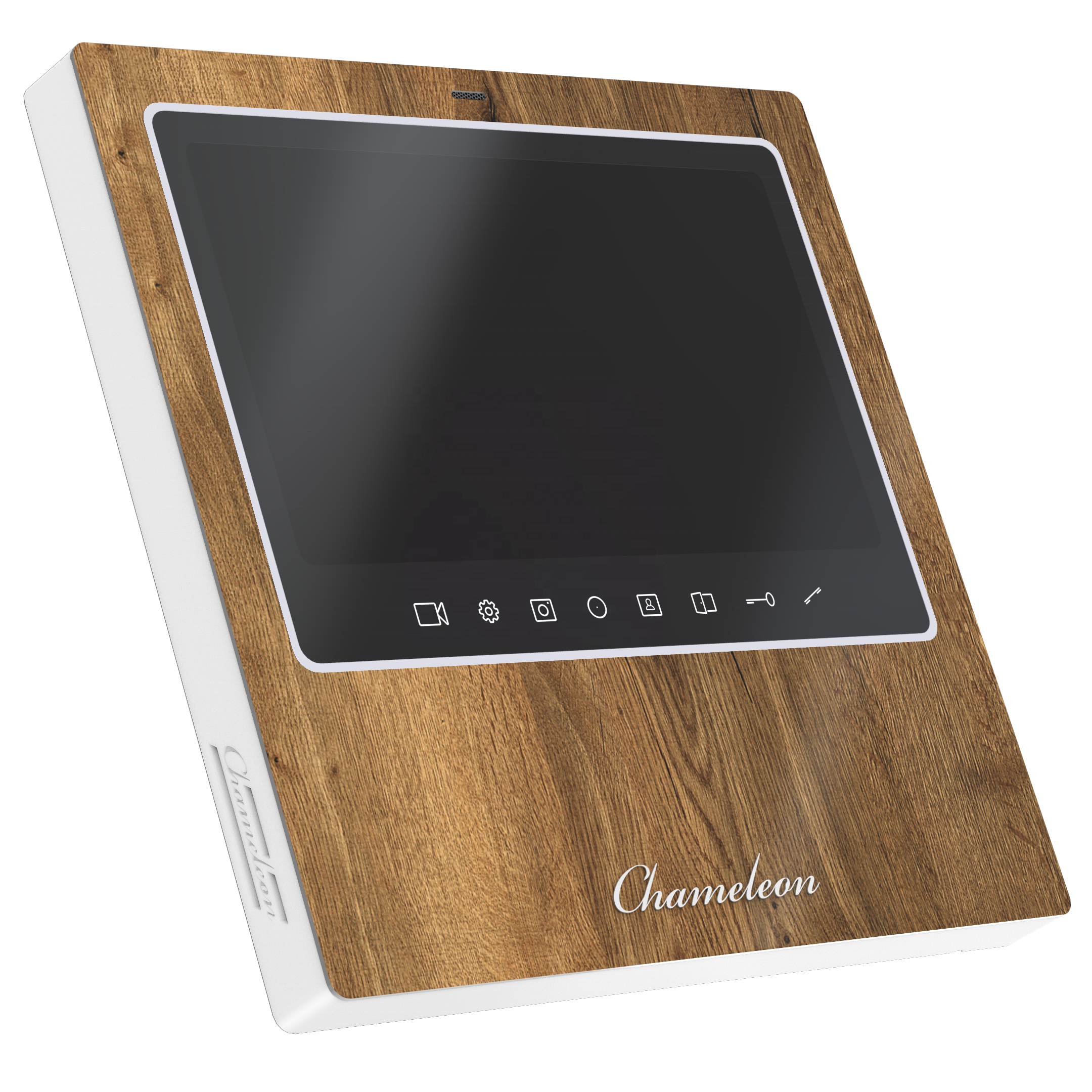 Video intercom #15 Chameleon Model S. The front panel of the video door bell is decorated with natural oak veneer.