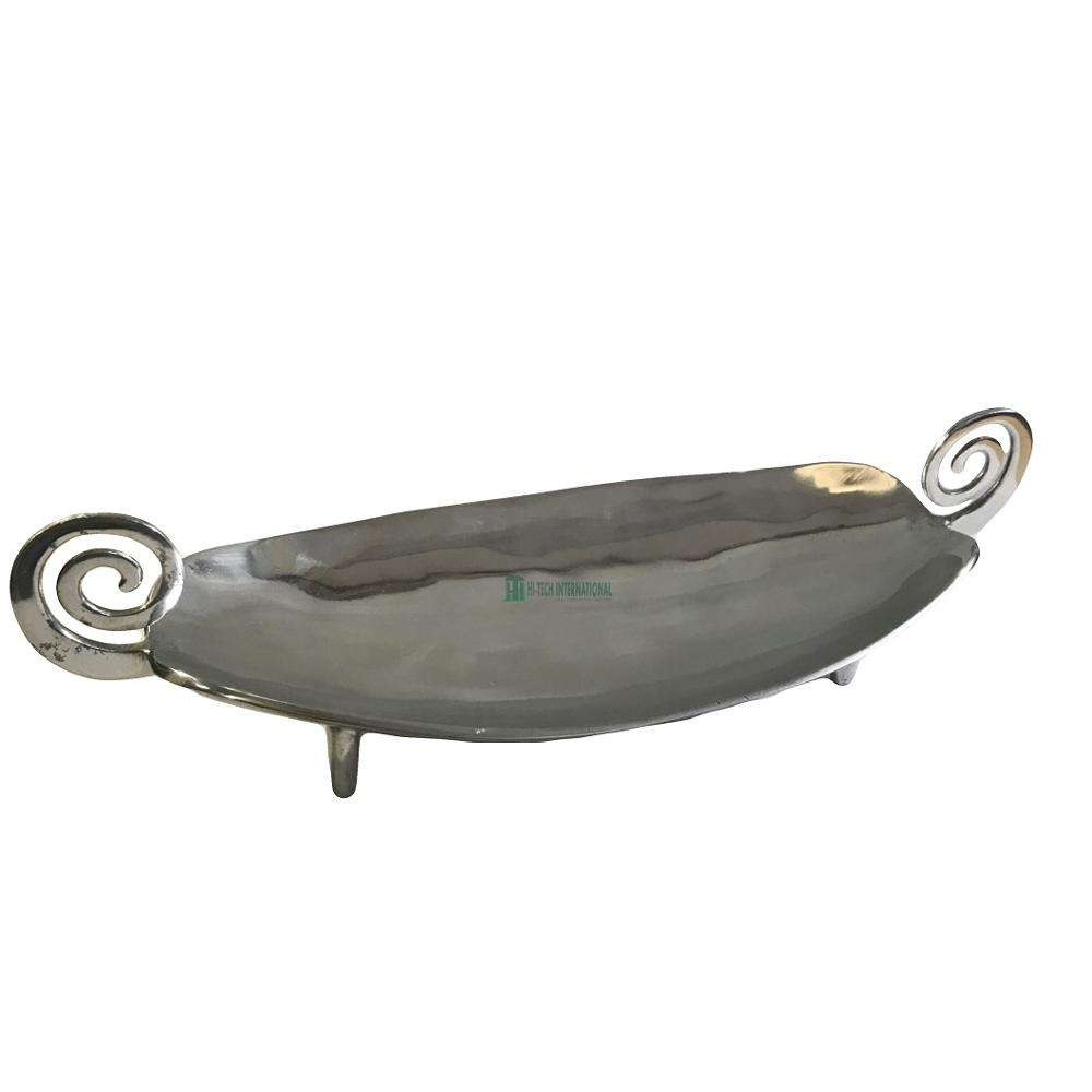 Aluminum Decorative Snack Platters - Metal - Polished - Silver - India Manufacturer - Handmade - Serving Dish Platter - Bulk