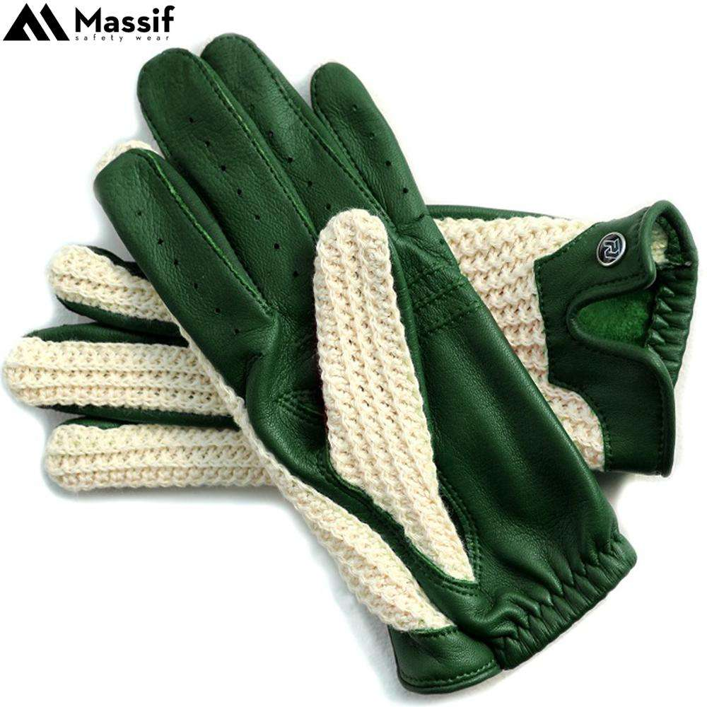 Crochet Leather Classic Dressing Car Driving Cycle Biker Gloves Soft Sheep Leather