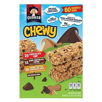 Quaker Chewy Granola Bars Variety Pack Case Pack of 60