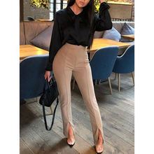 OL Style Solid Color Pencil High Waist Pants Ladies Office Wear Trousers