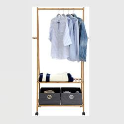Bamboo clothing standing organizer with rolling wheels, room closet shelf
