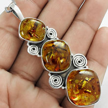 Natural amber pendant handmade jewelry solid 925 silver pendants wholesale sterling silver pendants suppliers