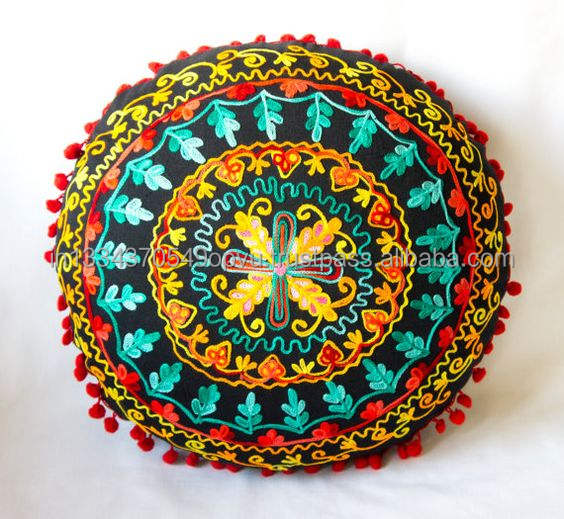 Exquisite Custom Made High Quality Alluring Mandala Motif Embroidered Cushion Cover Mexican Style Decorative Pillow Throw Case