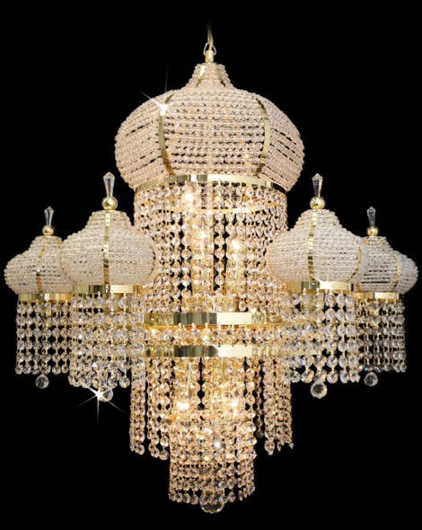 Golden plated crystal light for mosque chandelier lighting