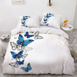 3D Digital Printing Custom Bedding Set,Single Double King,Bl