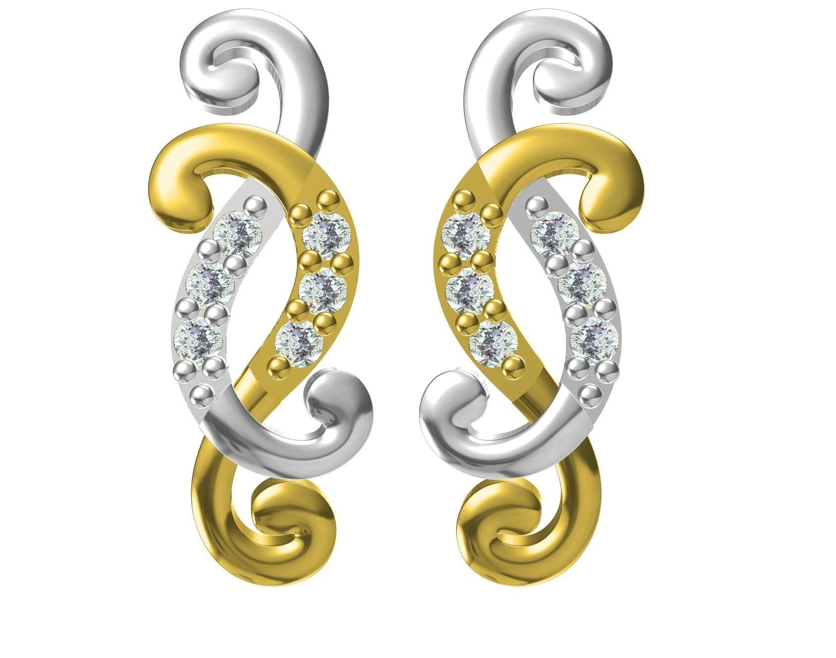 Provence Jewelry Woman Earring Natural Diamond/CZ/CVD/HPHT/Synthetic Moissanite Diamond Setting 18k Yellow Gold Earring Studs