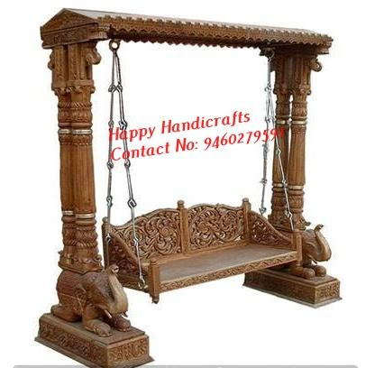 Royal Wedding Stage Swing with Crown Indian Wedding Red Stage Swing/Jhula Latest Wooden Carved Colorful Jhula