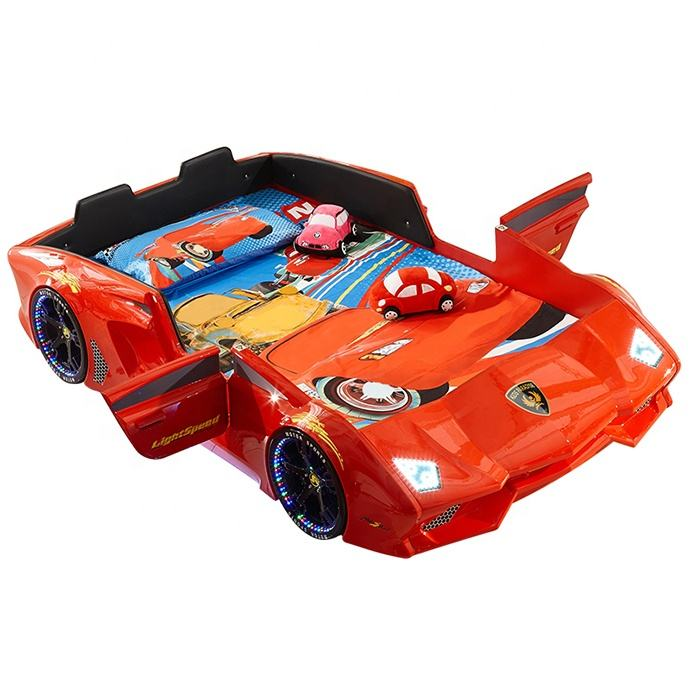 Modern Baby Room Children Kids Car Bed ABS Plastic Kids Race Car Bed TC600 with LED Light and Music Player