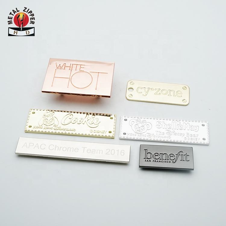 Factory Custom Design Zinc Alloy Metal Tags and Rose Gold Labels for Clothing Handbag