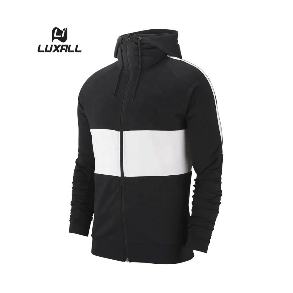 Design unico Cut & Cucire Black n White Striscia OEM Customized Zip up Con Cappuccio Da Uomo