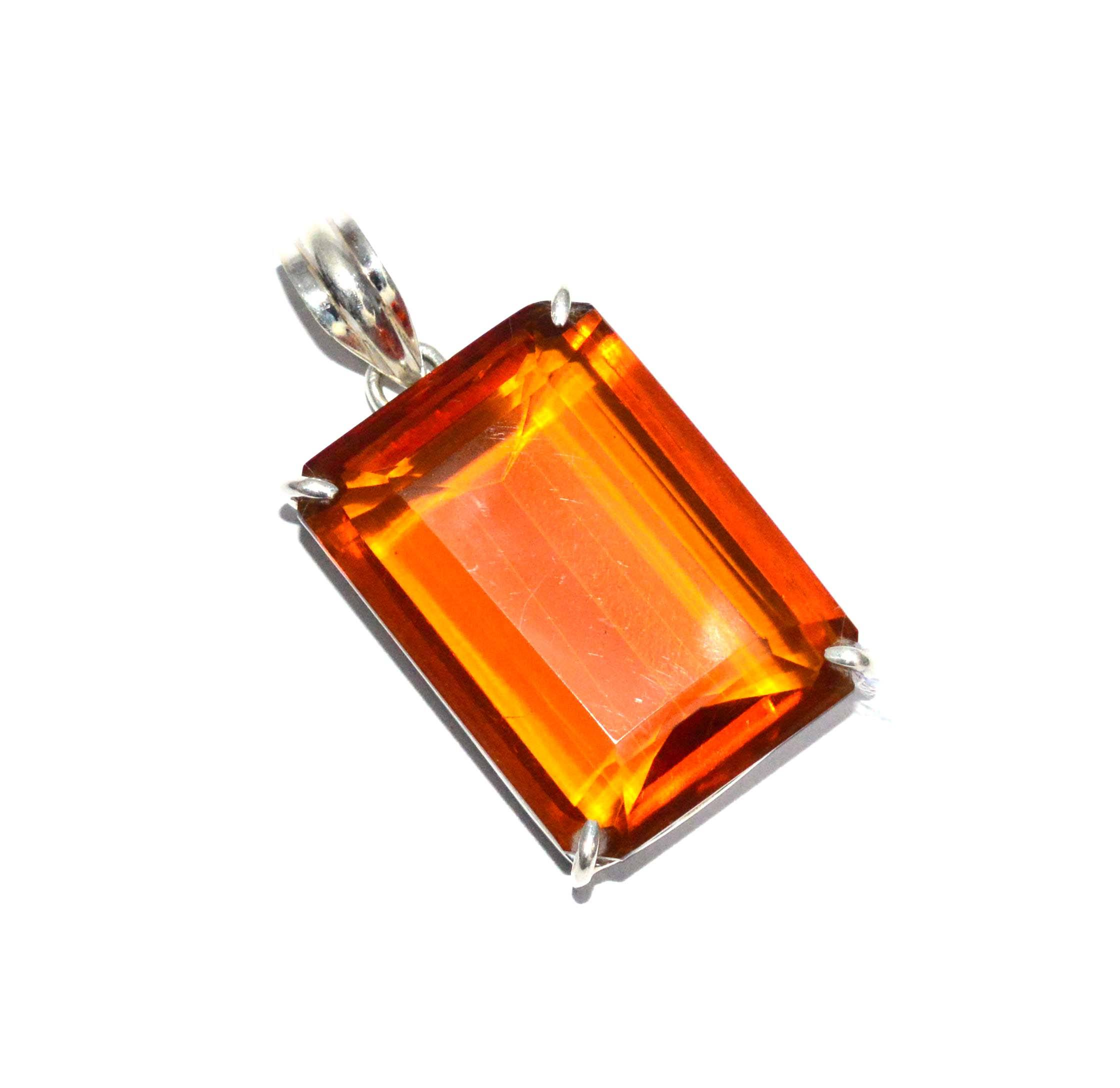 Cut Honey quartz pendant 925 silver gemstone jewelry wholesale solid sterling silver suppliers Indian jewelry pendants