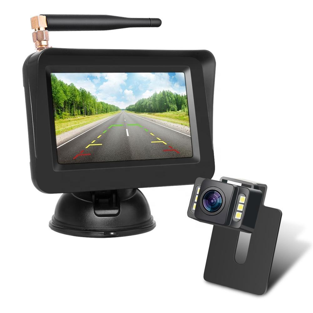 Sunveytech Car Rear View Monitors 4.3inch Backup Screen Kit Mini Night Vision System Parking Rearview Wireless Reverse Camera