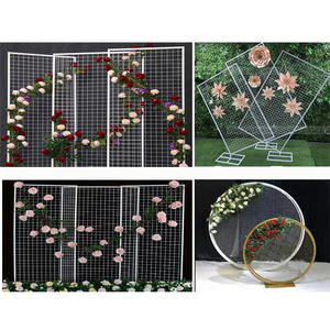 Floral Metal Display Wedding Backstage Decor Mesh Wire Wedding Stage Backdrop Panel Simple Backdrop Metal Frame For Wedding