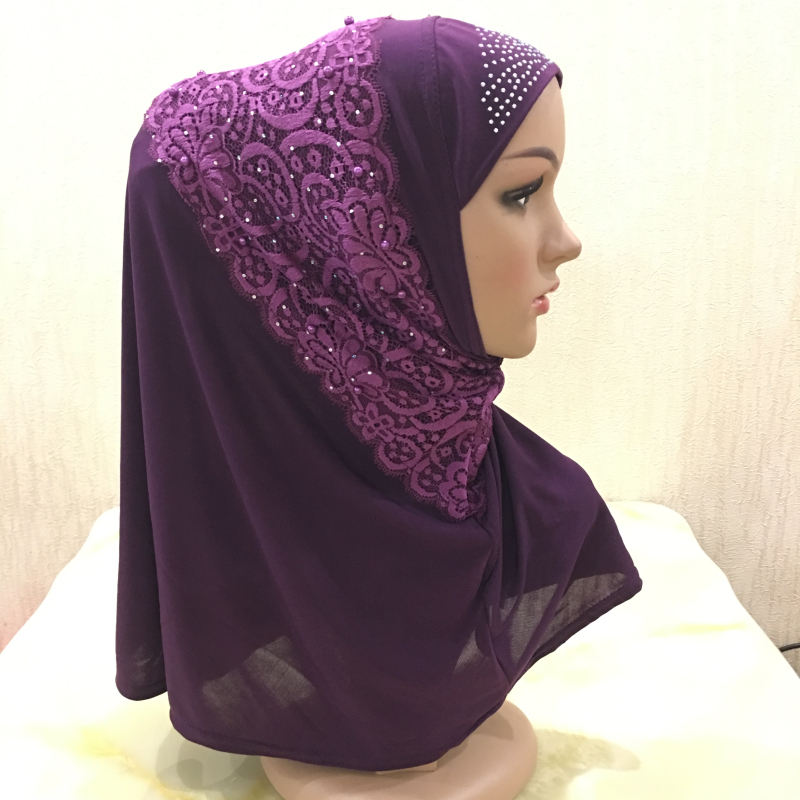Factory hot sale beautiful Islamic lace nail pearls amira headscarf 2019 new design muslim instant hijab for women