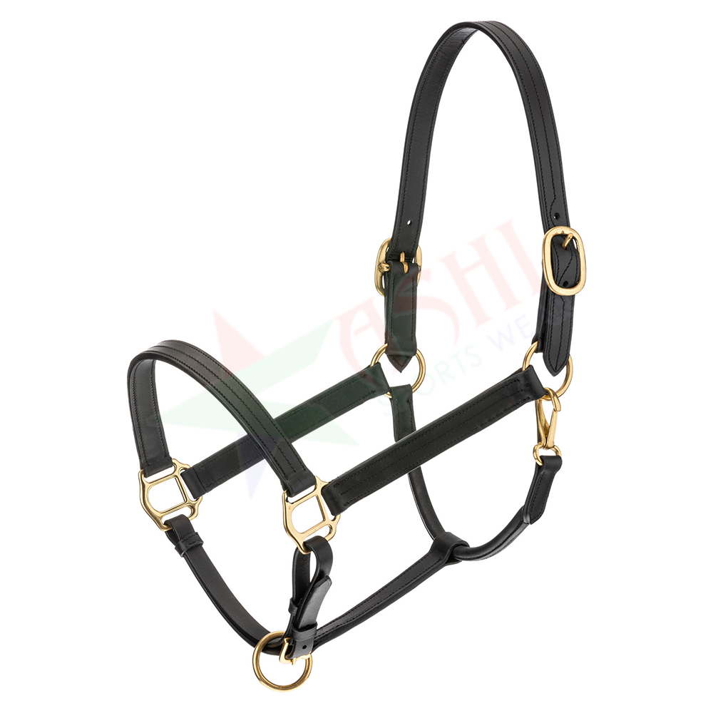 Full Black Leather Padded Horse Halter Horse Head Collar Gold Brass Buckles