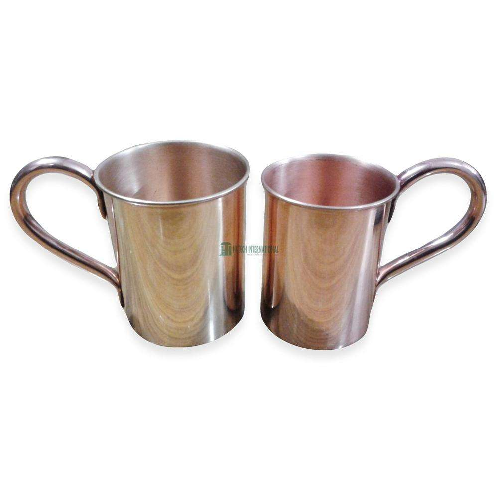 Copper Mugs - Pure Copper - Polished - Hammered - Moscow Mule - Vodka - Handmade - Set of 2 - Hi-tech International