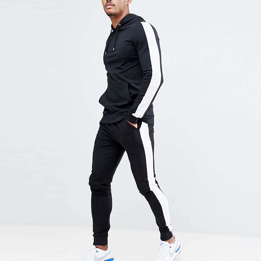 Design Your Own Tracksuit 2019 Custom Clothing Two Piece Sets Men Fitted Black Tracksuit With Side White Stripe