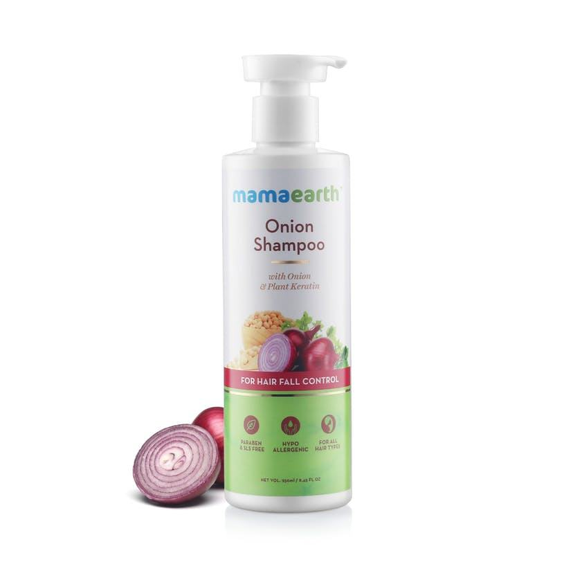 MAMA EARTH Onion Shampoo for Hair Growth and Hair Fall Control with Onion Oil and Plant Keratin 250 ml