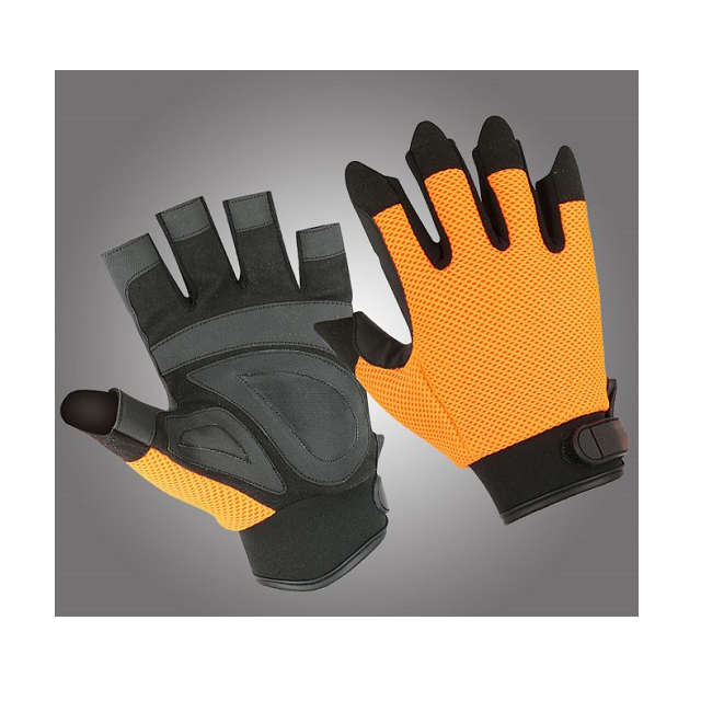 Cut Finger Hardware Synthetic Leather Gloves With Air Mesh Net Fabric Back And Neoprene Cuffs