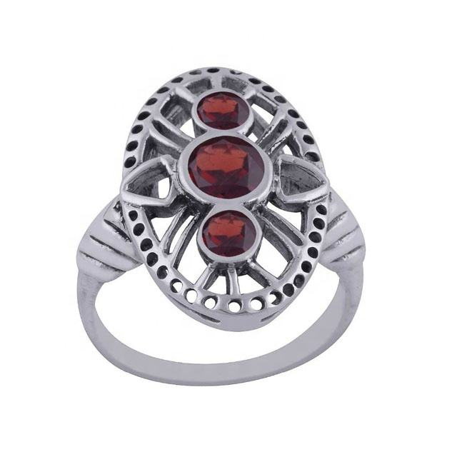 Wholesale 92.5 Sterling Silver Red Garnet Ring Silver Stone Ring For Women Fashion Ring Exporters All Multiple Country suppliers